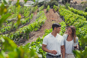 A couple waling through the vineyards.